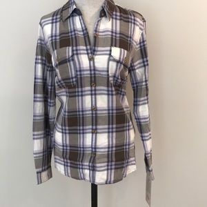 Dickies women long sleeve plaid shirt 100% cotton